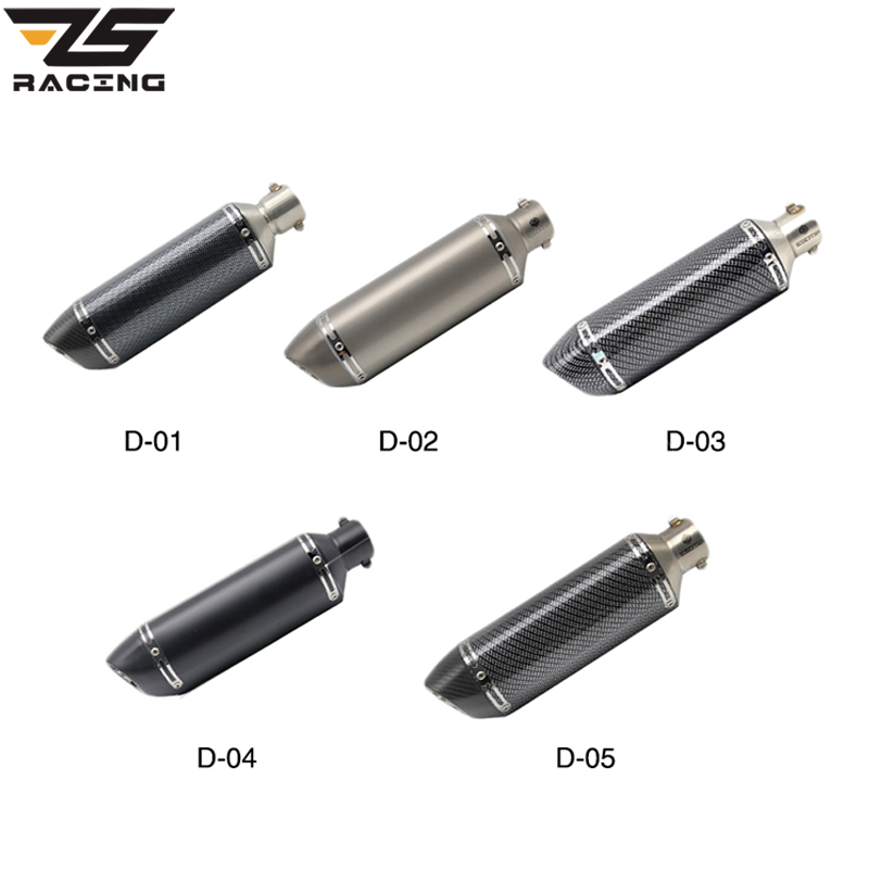 ZS Racing 38-51mm Universal Motorcycle Exhaust Muffler Escape Slip-On Pipe Fit Motorbike Scooter ATV Dirt Bike Moped motorcycle gp exhaust universal muffler 38 51mm slip on for dirt bike street bike scooter atv quad new