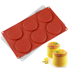 6 Cavities spiral-shaped Silicone Cakes Mold 3d Cake Decorating Tools Candy chocolate Mould For Kitchen fondant Molds Baking