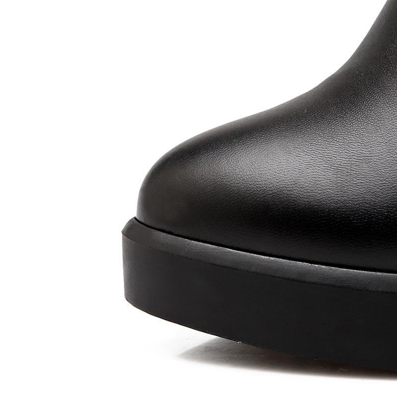 on Slip Plate Genou Pour Pu Femmes Carré Talons Mode Bout Élégante Haute Hiver Asumer Qualité forme Le Noir Bottes Rond Sur TcAfOnW