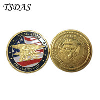 Newest Military Coins , Free Shipping SEA LAND AIR Metal Coin Design 24K Gold Plated Souvenir Coin Round