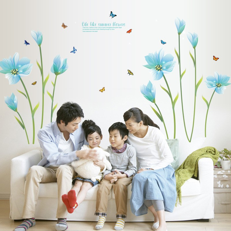 & 3D Blue Lily Flower butterfly wall Sticker Mural dly Living Room Bedroom Sofa Background Wall art Home Decoration Wall Decals stylish 3d night owl forest pattern wall sticker for livingroom bedroom decoration