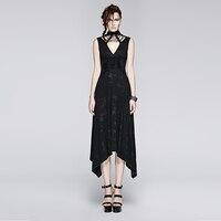 Gothic Punk Printing Knit Long Dress Black Sleeveless Cotton Asymmetric Hem Spring Summer Victorian Cross Lace