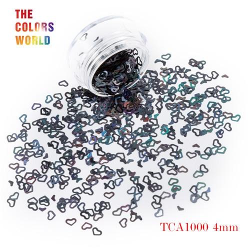 Tct-050 полые сердца Форма Лазерная красочные Глиттеры для ногтей 4 мм Размеры для ногтей Гели для ногтей украшения Макияж facepaint DIY украшения - Цвет: TCA1000  50g