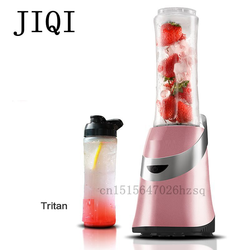 JIQI 250W Portable electric Juicing machine Multifunctional Household Mini Juicer 3 colos,red pink black jiqi household mini electric portable juicer glass juice cup 222w big power pink blue green