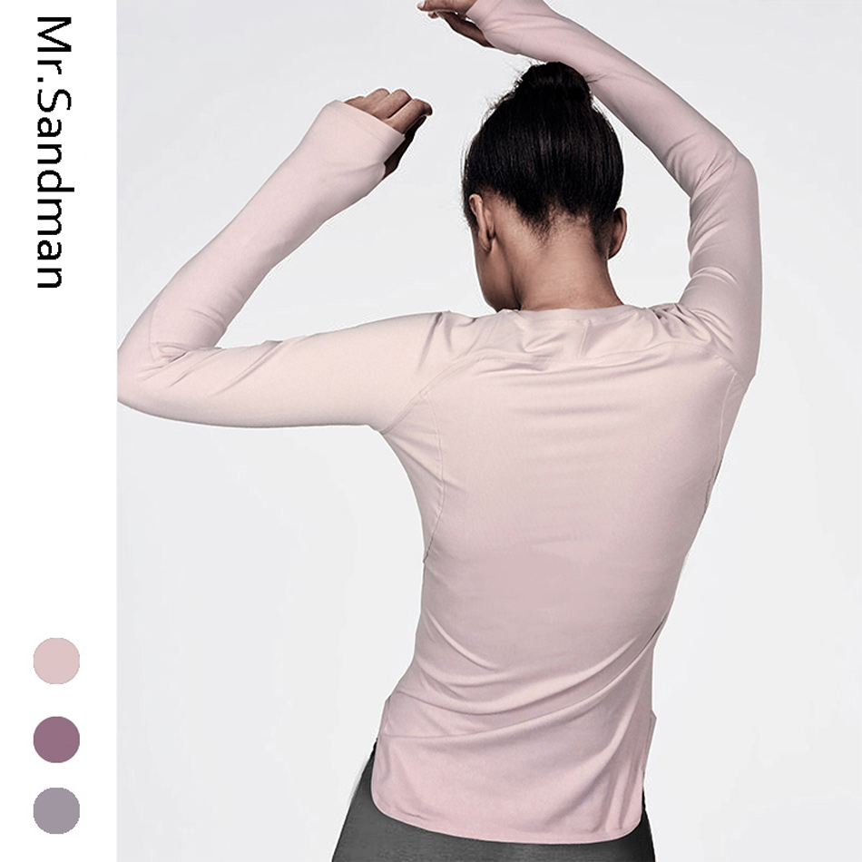 Women's Yoga Shirts Long Sleeve Workout Gym Top Solid Yoga Top With Thumb Hole Breathable Fitness Sport Shirts Jogging Jersey