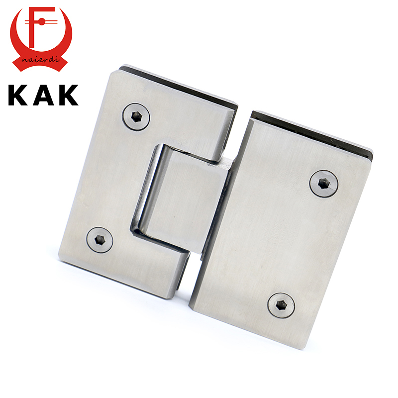 2PCS KAK-4904 180 Degree Open 304 Stainless Steel Wall Mount Glass Shower Door Hinge For Home Bathroom Furniture Hardware black titanium 180 degree hinge open 304 stainless steel glass shower door hinges for home bathroom furniture hardware hm156