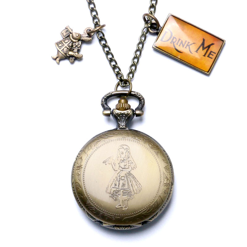 New Arrice Alice in Wonderland Pocket Watch Pendant Necklace Alice & Rabbit Quartz Watches Cosplay Accessory old antique bronze doctor who theme quartz pendant pocket watch with chain necklace free shipping