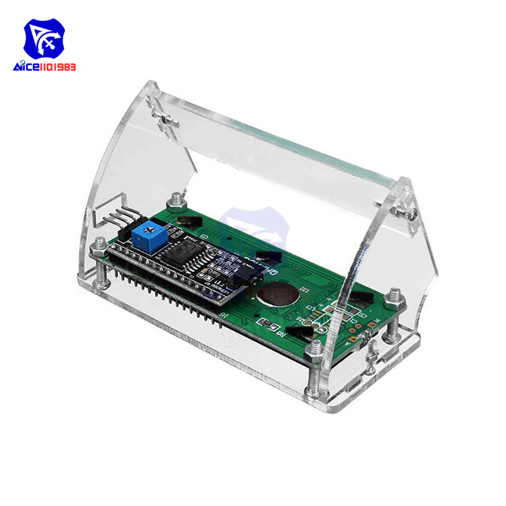 LCD 1602 Display Transparent Acrylic Shell for LCD1602 LCD Screen w// Screw//Nut