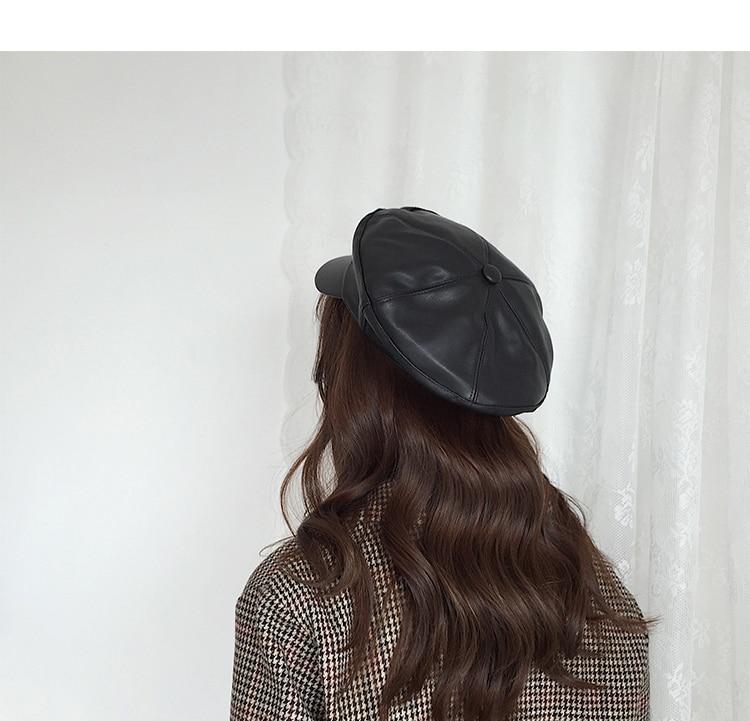 Compre Cokk Negro Boina Feminina Otoño Invierno Sombreros Para Mujer ... c2c4466d476