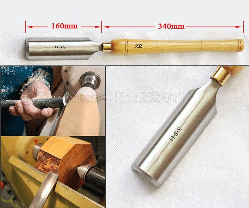 1 peças tamanho super woodturning madeira rouge gouge torneamento torno de madeira hss a2005 (42x160mm) com punho longo jf1622 de 340mm