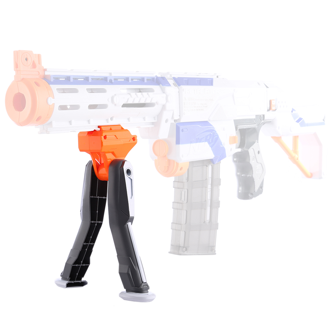 Modified Plastic Folding Stand For Nerf Retaliator / For Nerf Rapidstrike / For Nerf Stryfe - Orange + Grey