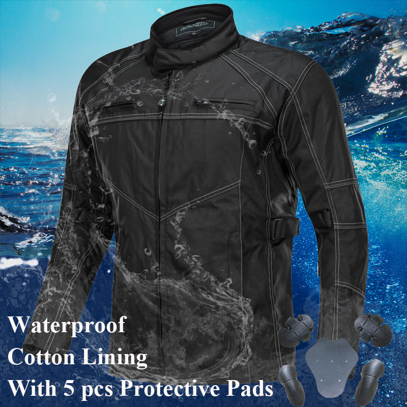 LYSCHY Motorcycle Jacket Summer Winter Body Armor Riding Off Road Racing Sports Jacket Clothing With Five Protector Guards Black