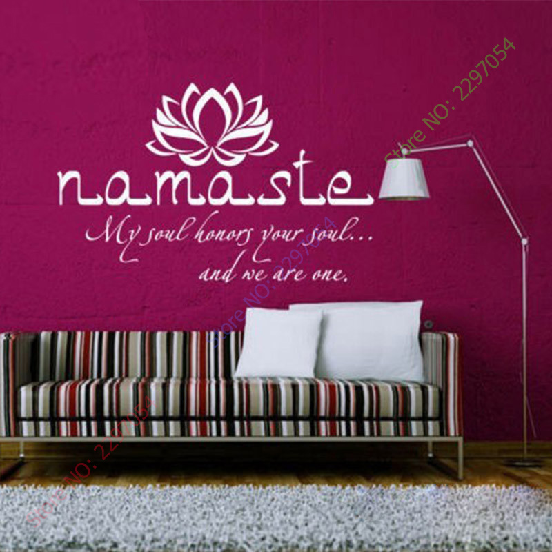 Wall decals quotes vinyl sticker decal buddha quote namaste yoga mandala wall stickers for living rooms diy many colors in wall stickers from home garden