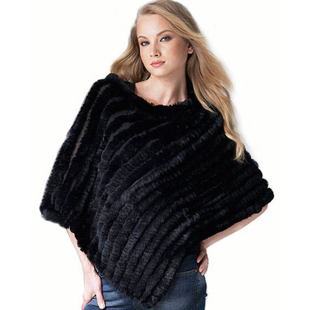 BK  New Design Women Fur Stole Triangle Tippet Fashion Rabbit Hair Knitted Shawl