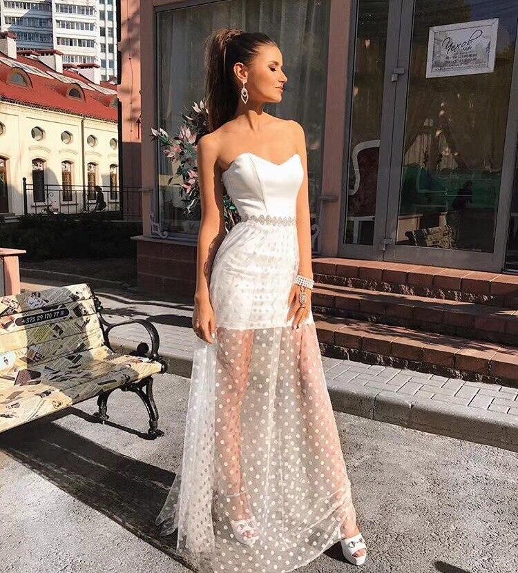 Maxi Parti Tricoté blanc Élastique Noir Longue Qualité Bretelles 2018 Robe Sexy Sans Haute Bandage Designer xqAn74I