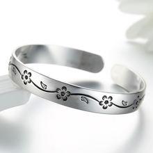 Женский браслет из тайского серебра 925 пробы с цветами сливы
