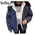2016 de Invierno de Lana mujeres Jeans Denim Jacket Espesar la lana de cordero Espesar Calentamiento chaqueta de mezclilla prendas de Vestir Exteriores de las mujeres chaqueta de los pantalones vaqueros