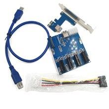 Новый PCIe 1 до 4 PCI Express 1X Слоты Riser Card Mini-ITX к внешним 4 Слот pci-e AD XXM8