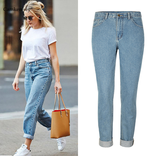 e146e491fc1 CamKemsey Women Loose Boyfriend Jeans Plus Size High Waist Vintage Mom  Jeans Woman Casual Cotton Denim Pants Trousers