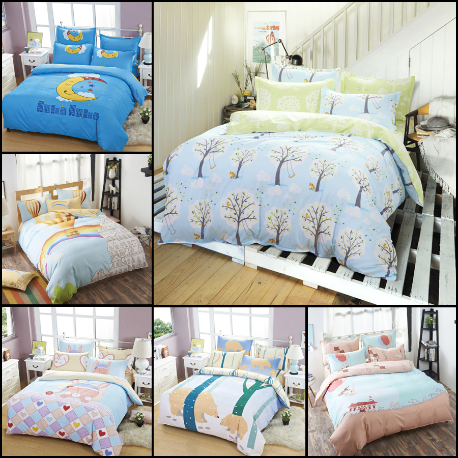 Fashion kids bedding set cartoon winter tree pattern linen for Bedding fabric bedding