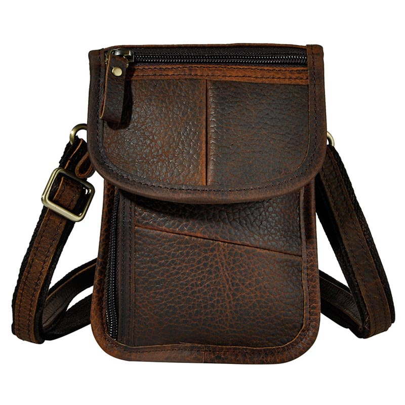 Retro Style Genuine Leather Mini Men's Crossbody Shoulder Bag Messenger Bags Casual Waist Belt Pack  For Travel Mobile Phone new pu leather cell mobile phone case small messenger shoulder cross body belt bag men fanny waist hook pack