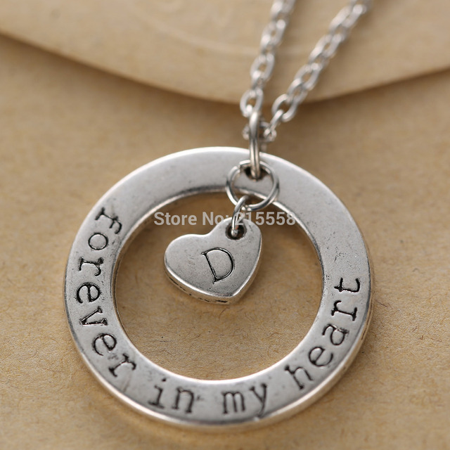 Valentines day gift forever in my heart memory necklace alphabet valentines day gift forever in my heart memory necklace alphabet letter heart charms pendant necklace sral aloadofball Gallery