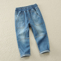 Spring Autunm Baby Boy Jeans Pants Denim Trousers High Quality 100% Cotton Solid Mid Waist Kid Toddler Teen Boy Clothes 2T 12 14