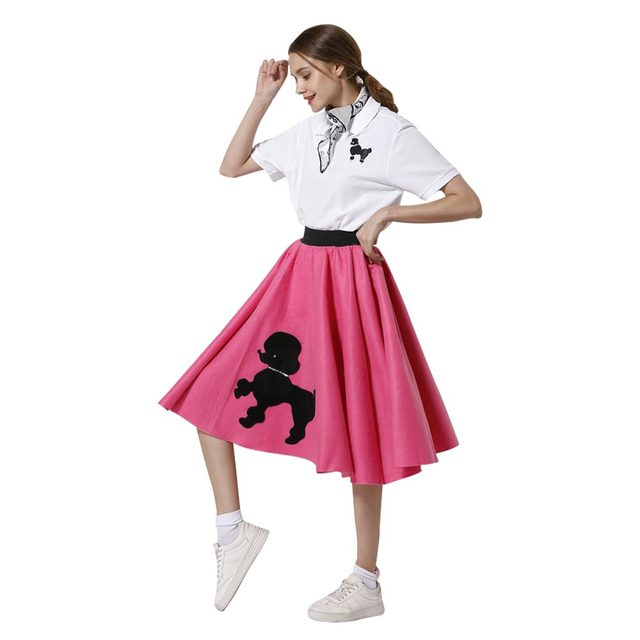 dd10d0704d168 Adult Women Girl Poodle Skirt With Musical Note Printed Scarf Hot Pink  Dress Halloween Cosplay Costumes