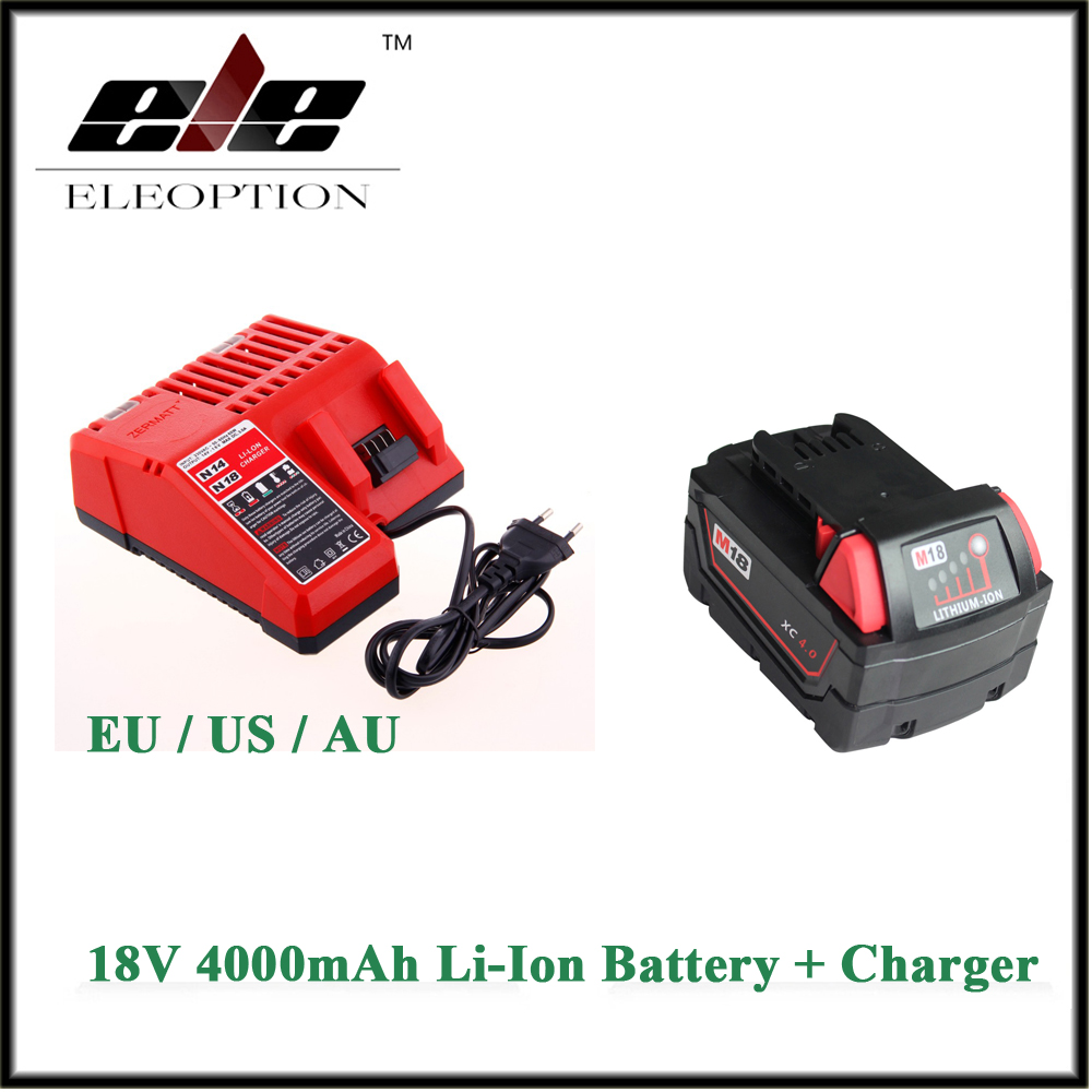 Eleoption 18V Li-Ion 4000mAh Replacement Power Tool Battery for Milwaukee M18 XC 48-11-1815 M18B2 M18B4 M18BX Li18 And charger replacement li ion battery charger power tools lithium ion battery charger for milwaukee m12 m18 electric screwdriver ac110 230v