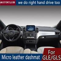 Para Mercedes Benz GLE GLS Dashmat Classe 320 350 400 500 Couro Pad Cover Dashboard Traço Mat Toldo tapete 2016 2017 2018 2019 -