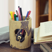 Free Shipping Home Office Fashion Decoration Ornaments Ideas Bear Stumps Pen Holder Gift