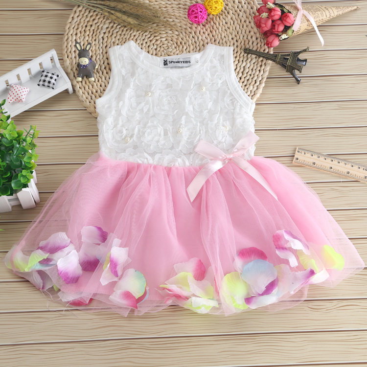 Kids Baby Girls Beautiful Flower Dress Princess Summer Sleeveless Mini Tutu Dress Pink Yellow Red Baby Girls Tutu Dress ab gymnic electronic body muscle arm leg waist abdominal massage exercise toning belt slim fit yf2017