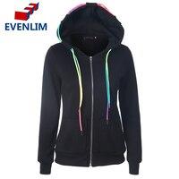 Frauen Damen Mit Kapuze Jacke Langarm Hoodies Zip Hoodies jacken für weibliche Oberbekleidung Feste Beiläufige Pullover DR736