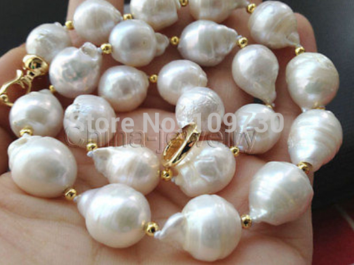 Jewelr 13-15mm natural baroque Australian south sea white pearl necklace 18inch elegant14 15mm baroque south sea white pearl necklace 18inch