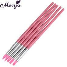 5Pcs Pink Silicone Nail Art Pen Brush Carving Pen Dotting Stamping Craft Emboss Gel Plish Tip Sculpture Painting Manicure Tool
