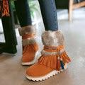 Новая Мода Черный плоский Каблук Лодыжки Ботинки Женщин Обувь Бисером плюшевые Замши Нубука зимние Загрузки Женщина кисточкой теплые ботинки снега AA554