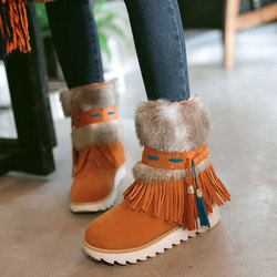 New fashion flat heel black ankle women boots shoes beaded plush suede nubuck winter boot woman.jpg 250x250