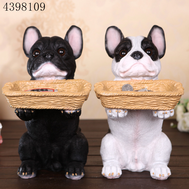 Resin animal home accessories French Bulldog dog storage box animal statue crafts living room desktop ornaments