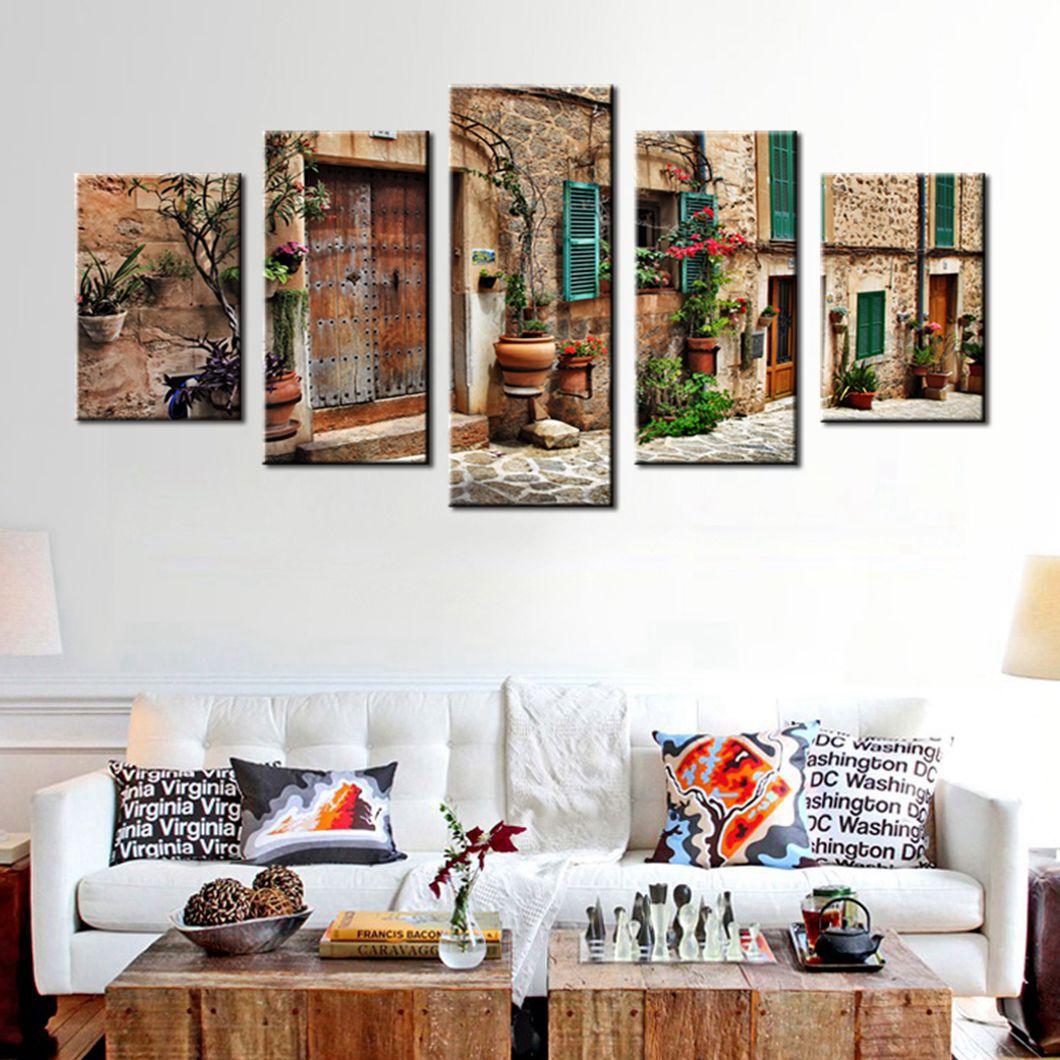 arte de la pared de la calle de la vieja ciudad mediterrnea flor puerta ventanas pintura