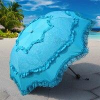 ขายร้อนสร้างสรรค์เจ้าหญิงพับอาทิตย์ร่มร่มลูกไม้โค้งป้องกันรังสียูวีg uarda c huvaร่มฝนผู้หญิง6ส...