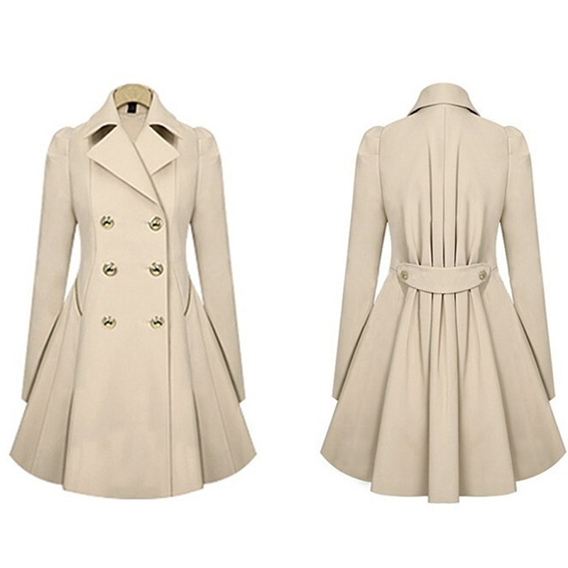 Women Trench Coat Spring Fashion Double Breasted Long Sleeve