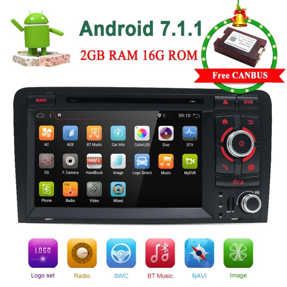 Lecteur multimédia de voiture Bosion Android 7.1 2 Din Autoradio système stéréo pour Audi A3 S3 GPS radio navigation wifi lecteur DVD de voiture