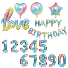 Gradient Color Love Happy Birthday Letter 0-9 Foil Balloon Rainbow Star Number Wedding Party Baby Shower Decor
