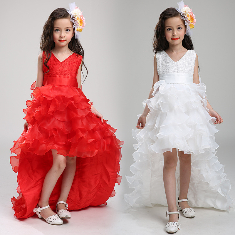 2018 New kids girl party dress girl trailing dress ball gown dress with bow-knot Girls Wedding Dress LS003TW party girl dress 2017 new kids girls trailing dress with bow knot child birthday surprises girls wedding princess costume 2 12t