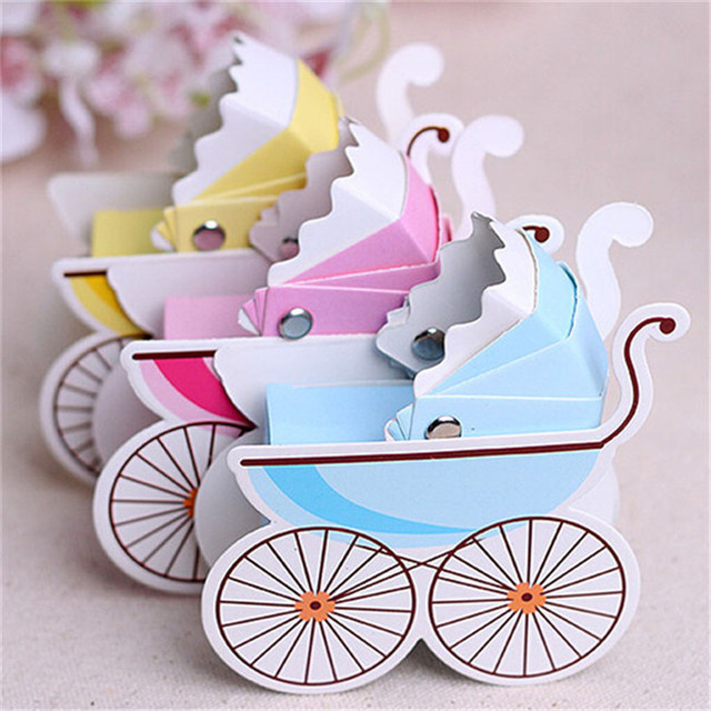 50pcs/lot Wedding Candy Box Stroller Shape Party Wedding Baby Shower Favor Paper Gift Boxes Event & Party Supplies IC873438