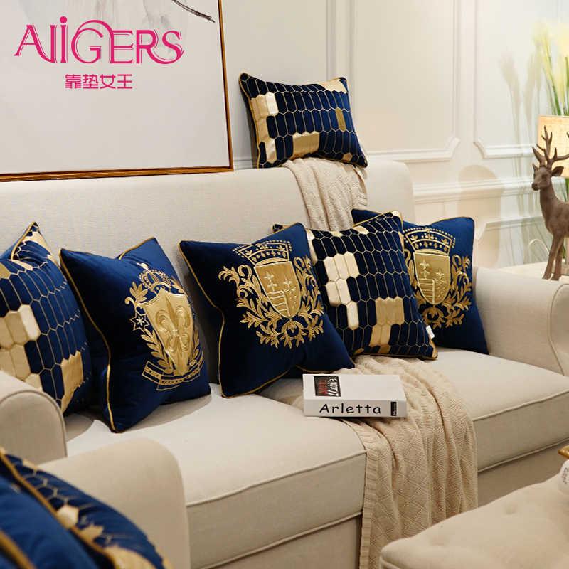 Avigers רקמת קטיפה כרית כיסוי יוקרה אירופאי כרית כיסוי זהב ציפית גיאומטריה בית דקורטיבי ספה לזרוק כרית