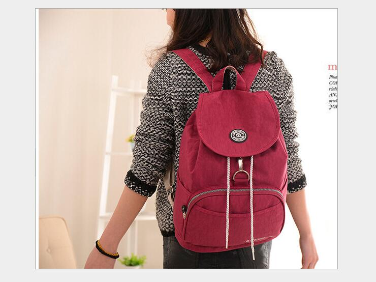 JIN QIAO ER Fashionable fashionable new waterproof nylon double shoulder bag leisure bag college wind backpack female RED bag nylon double shoulder bag backpack