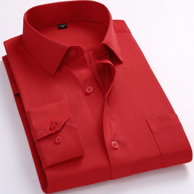 Mens Business Casual Long Sleeved Shirt Classic White Black Dark Blue Male Social Dress Shirts Plus Large Size 8xl 7xl 6xl 5xl Sales Of Quality Assurance
