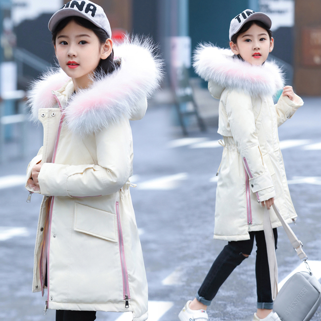 Special Price 5-14 Years Children Girl Jacket Thick Long Winter Warm Coat Fashion Fur Collar Hooded Outerwear Clothes For Kids Girl Down Coat