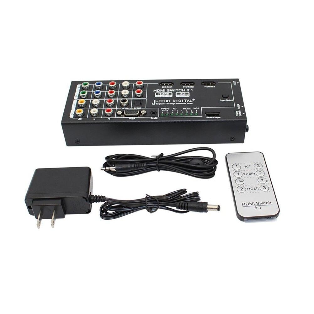 Новый цифровой Многофункциональный HDMI аудио Экстрактор с 8 входов на 1 выход HDMI с Оптический / коаксиальный 5.1-канальный GDeals